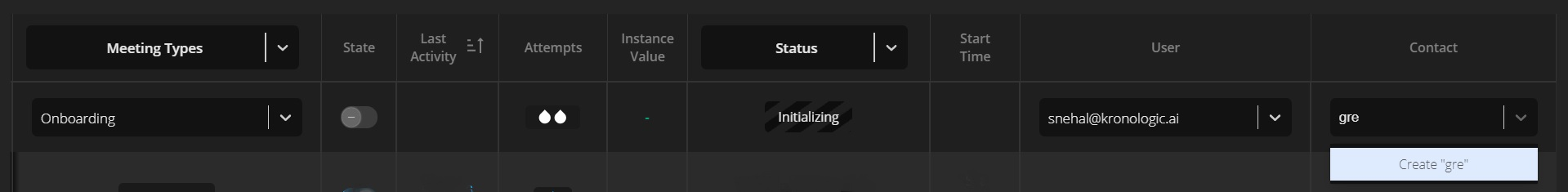 New contact on instance